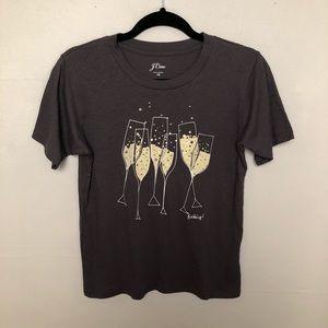 J Crew | Champagne Glasses Bubbles Rhinestones Tee
